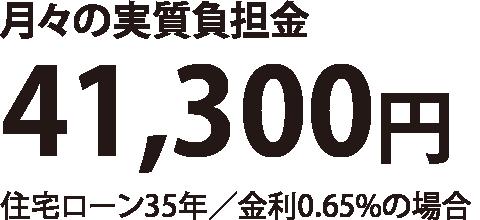 月々の実質負担金41,300円(住宅ローン35年/金利0.65%の場合)