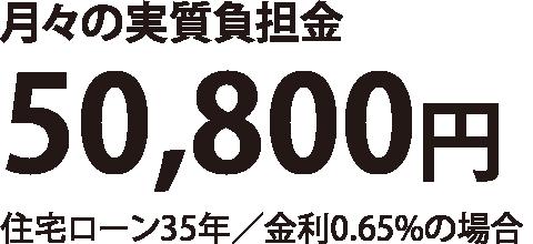 月々の実質負担金50,800円(住宅ローン35年/金利0.65%の場合)