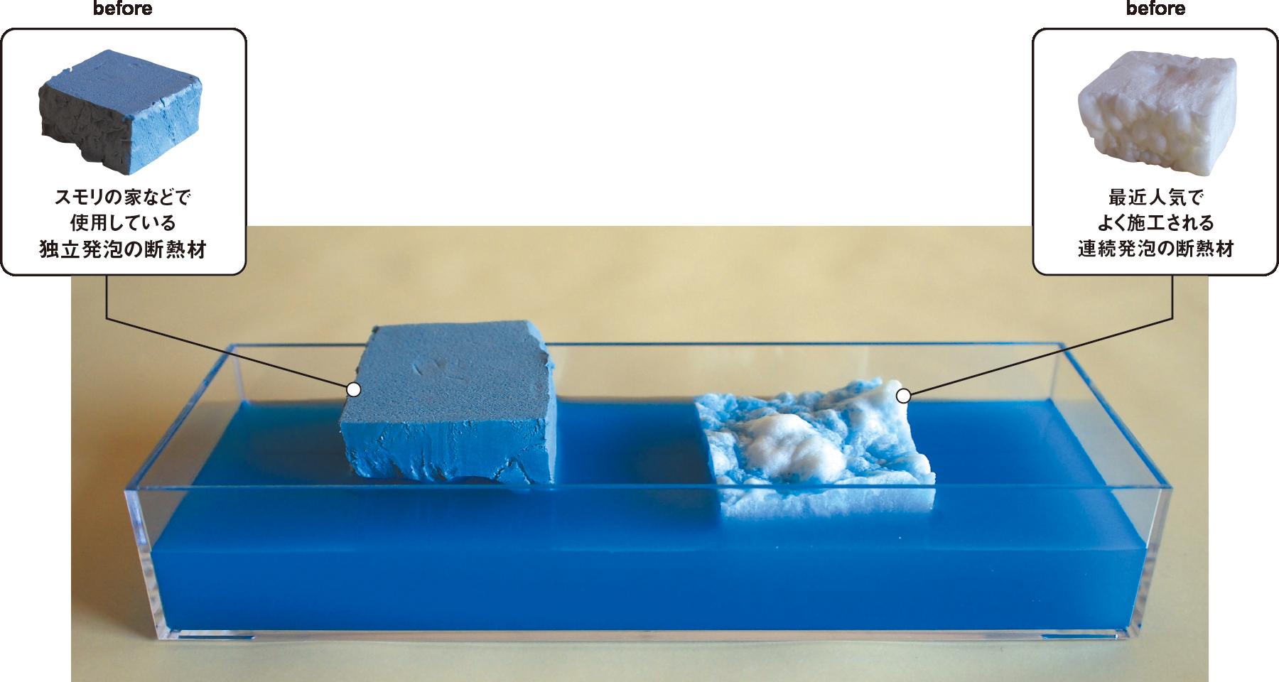 (左)スモリの家などで使用している独立発泡の断熱材、(右)最近人気でよく施工される連続発泡の断熱材
